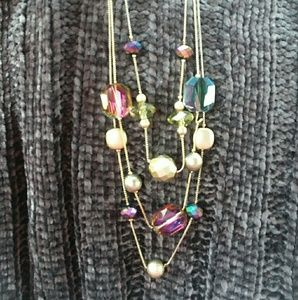 Chico's Rainbow Crystal 3-Strand Necklace